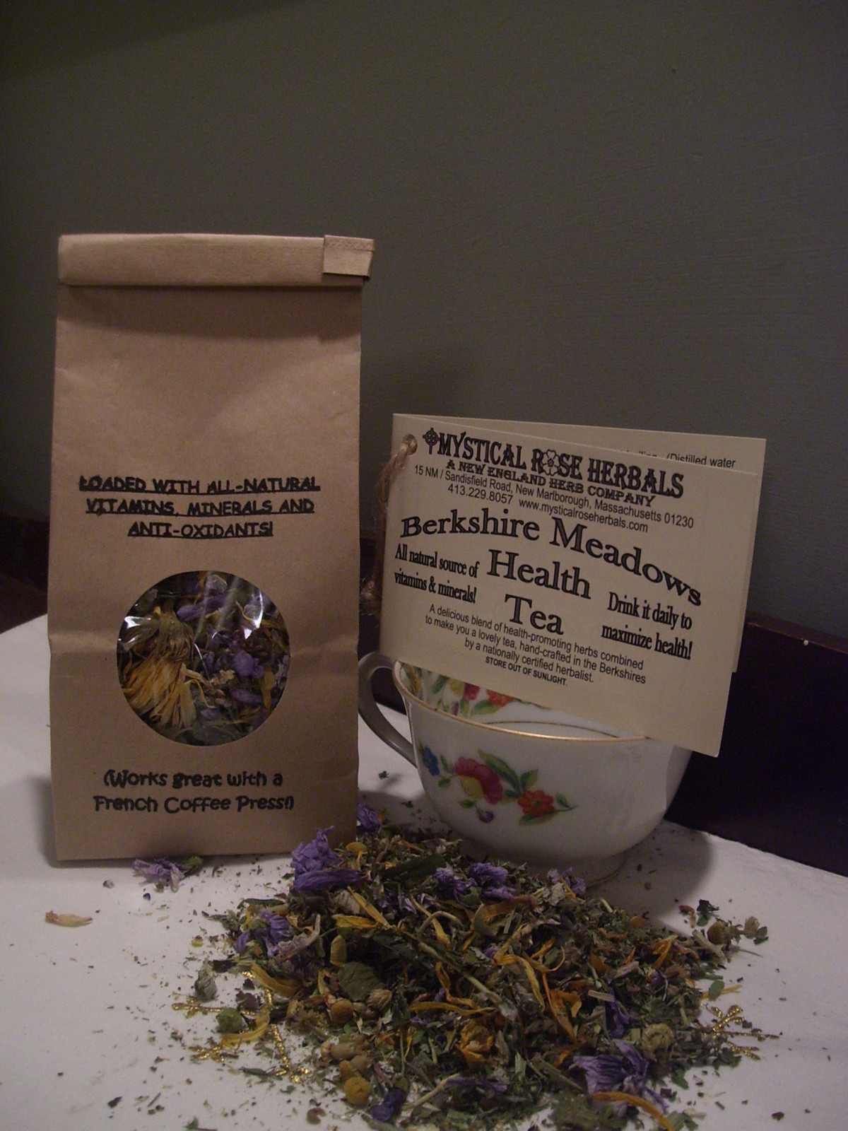 As a supplement to using supplements, BERKSHIRE MEADOWS HERBAL HEALTH TEA is an all-natural, food-source of Vitamins, Minerals and Anti-oxidants